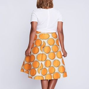 Lane bryant | orange Box Pleated Circle Skirt